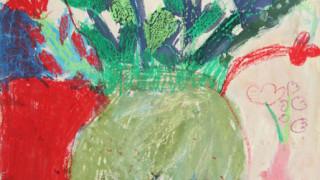 描画:花瓶の花